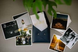 Leather photo pouch and gold glass USB flash drive